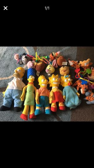 Simpson Family Dolls plus back pack clip stuffed toys. Excellent Condition