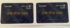 United Club One Time Pass Set of 2 Valid Thru 1/31/18