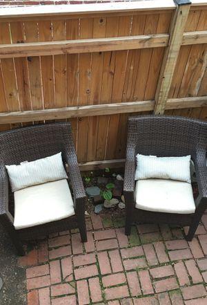 Wicker chairs /w wicker glass table.