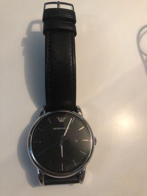 Emporio Armani black leather men's watch