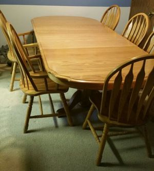 shin-lee solid oak dining room table and chairs ( furniture ) in