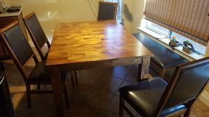 Solid hardwood dining set with four chairs and bench