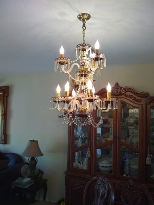 Lavender crystal bobash 2 tier chandelier