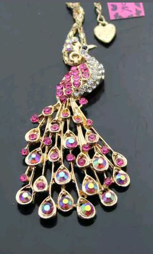 Bestey Johnson Crystal Enamel Peacock Necklace