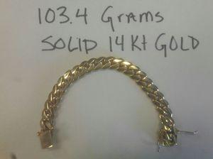 103.4 GRAMS SOLID 14KT CUBAN LINK BRACELET 13MM 8 INCHES