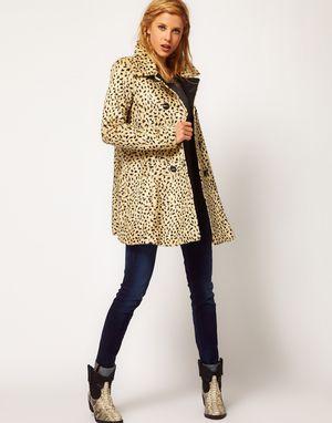 New, Free People cheeta animal print faux fur coat S-M