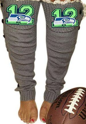 Seahawks Leg Warmers with Lace and Button Details