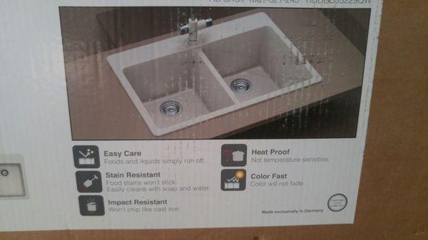 Dual mount double bowl quartz composite kitchen sink white (Tools ...