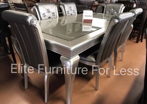 7Pc Silver Dining Room Set Furniture In San Diego CA
