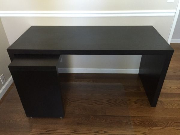 ikea malm desk w extension pull put panel black brown furniture in san jose ca. Black Bedroom Furniture Sets. Home Design Ideas