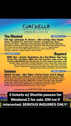 3 Coachella Wristbands w/ Shuttle passes for Weekend 2