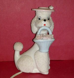 Antique FRENCH POODLE Porcelain Night Light Lamp