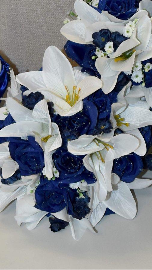 Wedding flower bouquet artificial royal blue white handmade used wedding flower bouquet artificial royal blue white handmade used once flowers mightylinksfo