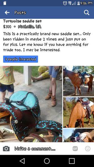 16 inch turquoise saddle set...