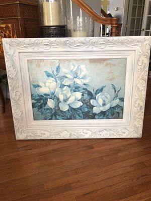 A gorgeous Large signed flower painting in A Antique white distressed finish wooden frame