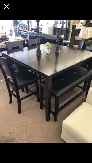 Solid Wood Table Four Chairs Bench No Credit Check Financing Available With