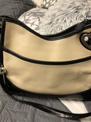 Ivory and black leather Brighton purse