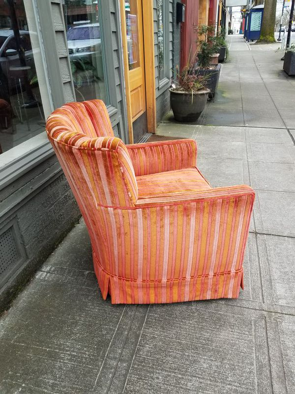 Mid Century Multicolored Striped Velvet Chair Furniture In Seattle Wa Offerup