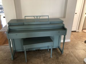 Lester Betsy Ross Spinet Piano. Painted blue.