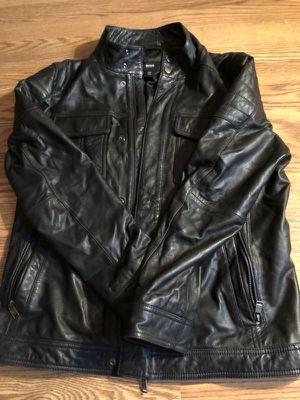 Black Hugo Boss Leather Jacket