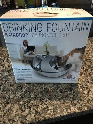 Large Stainless Steel Drinking Fountain Raindrop by Pioneer Pet