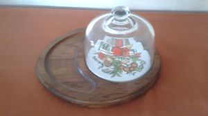 Vintage Cheese Platter w Glass Dome