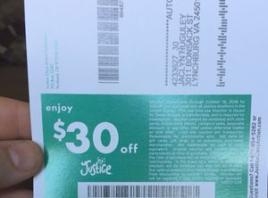$30 off coupon for justice