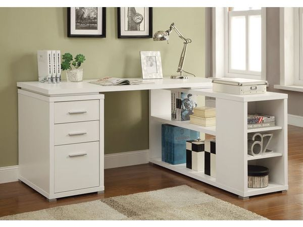 L SHAPE OFFICE DESK WHITE