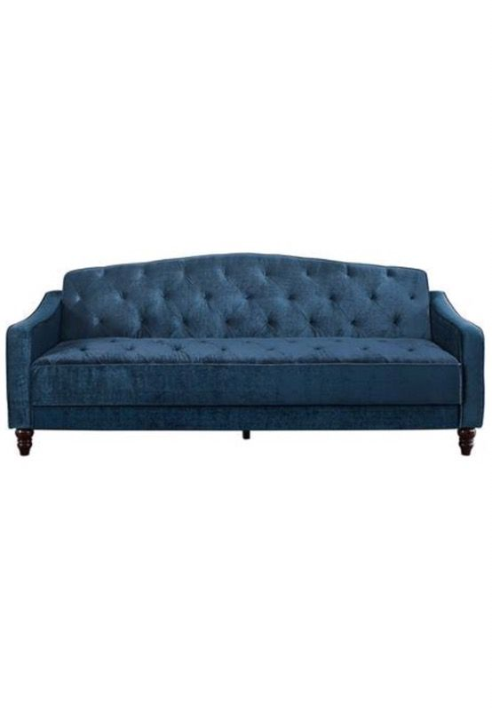 Novogratz Vintage Tufted Sofa Sleeper ll Navy Velour Brand New