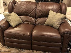Leather Reclining Love Seat & Sofa
