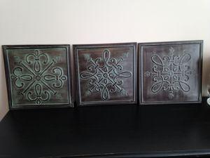 Metal wall art, 14 x 14 (3 pieces)