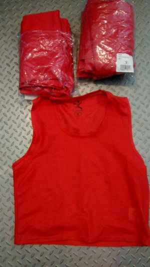 Kids Soccer Red scrimmage vests/pennies...13 total (8 size small, 5 size medium)
