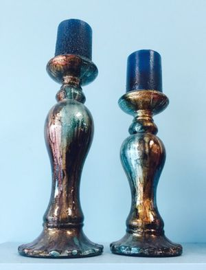 2 Candles Holders with Candles *Price Firm*