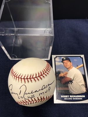 Autographed Official MLB Baseball by 1960 World Series MVP & New York Yankee Great, Second Baseman, Bobby Richardson