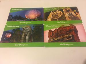 Four 1 Day Disney Park Hopper + fast pass tickets. Never expires.