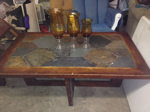 Solid wood slate coffee table matching end table Furniture in