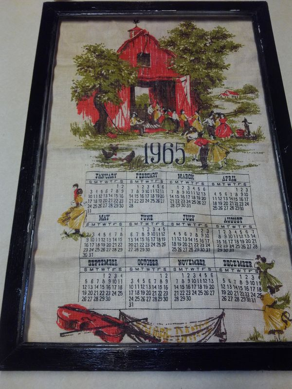 Framed 1965 Burlap Wall Calendar (Furniture) in Huntsville, TX - OfferUp