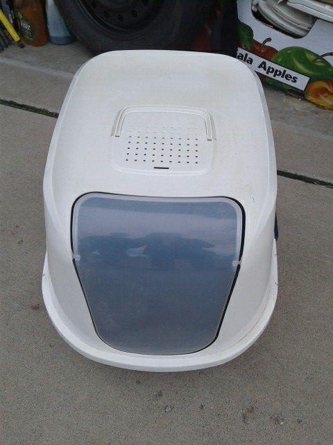 So Phresh Jumbo Topentry Cat Litter Box in Navy 23 L X 19 W X 15