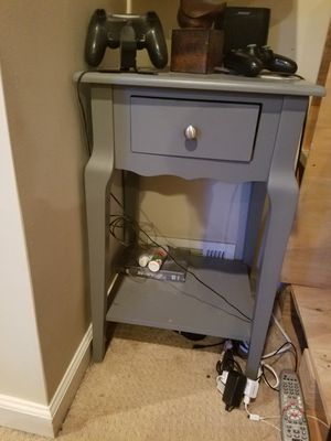 Grey side table with drawer