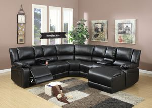 Black leather Sectional set $1599.99 or as low as $57.24 per week.. please visit (iNeedBed. info) for more details