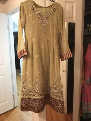 Pistachio green three piece stitched frock full embroidered