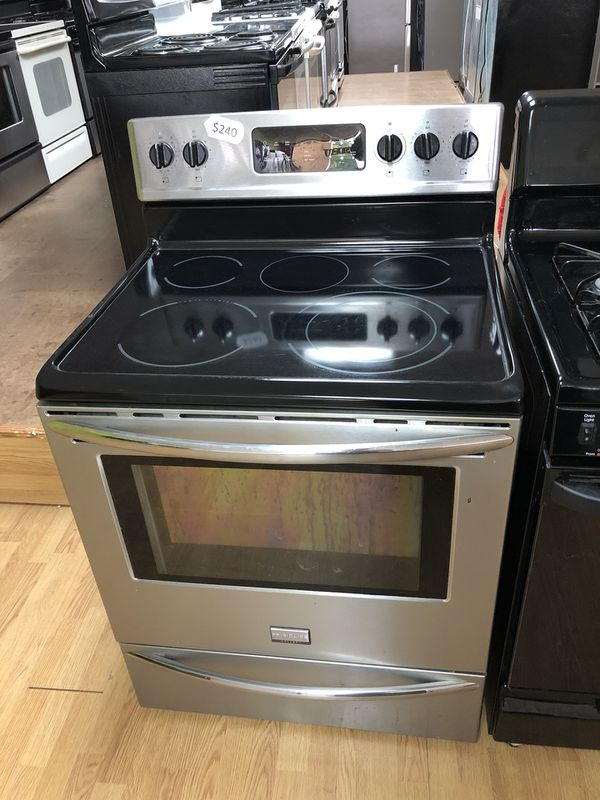 Stainless Steel Frigidaire Glass Top Stove Appliances in