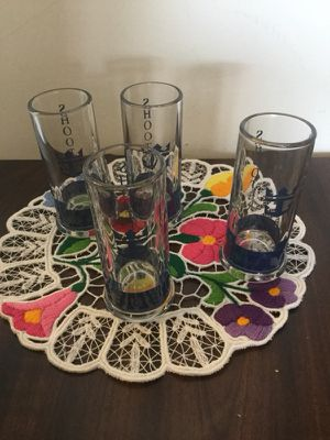 A set of 4 shot glasses from France / Shooters - drinking glass from Paris- France 🇫🇷