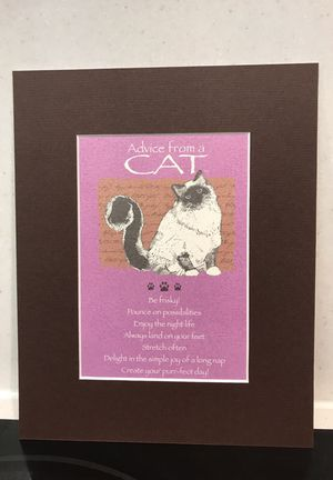 Brown Matted Print Advice From A Cat