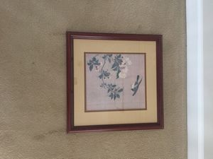 """Asian Flowers and bird framed print. Measures 18.5""""x18.5"""". High quality framing."""