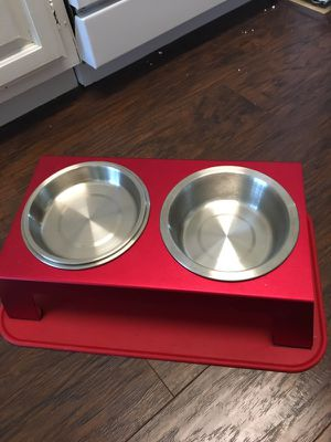 Pet food tray and red mat