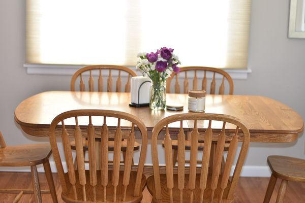 Oak Butterfly Dining Table And 7 Arrowback Chairs