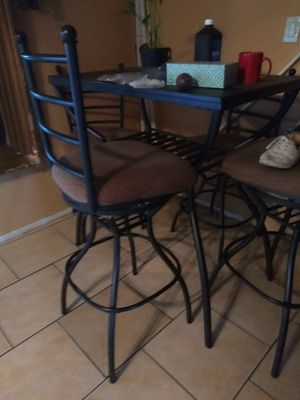 Tall table out door table and chairs