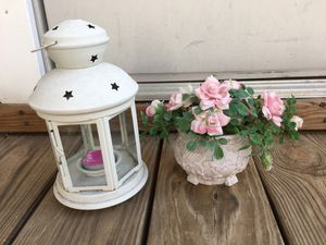 Patio Lantern and plastic flowers pot