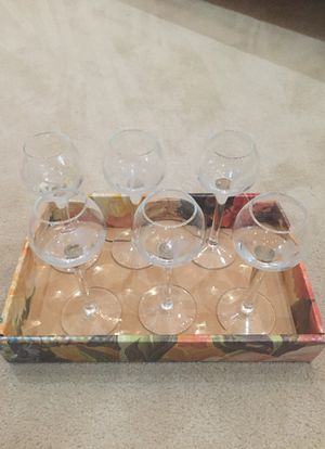 Set of six flower etched crystal cordial glasses